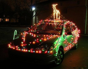 Car covered in Christmas lights